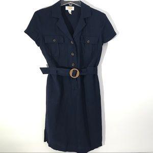 Talbots Shirt Dress Navy with Belt 4 Petites